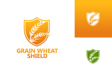 Grain Wheat Shield Logo Template Design Vector, Emblem, Design Concept, Creative Symbol, Icon