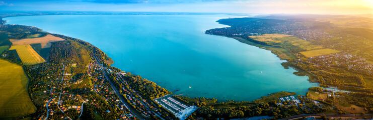 Balatonfuzfo, Hungary - Panoramic aerial skyline view of the Fuzfoi-obol of Lake Balaton at sunset. This view includes Balatonfuzfo, Balatonalmadi, Balatonkenese and several yacht marinas