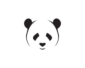 panda logo black and white head vector