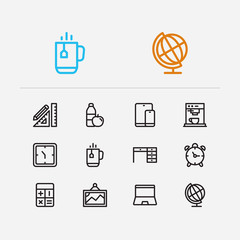 Office icons set. Laptop and office icons with calculator, snacks and stationery. Set of drawing for web app logo UI design.