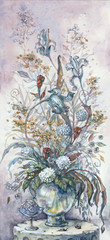 composition of flowers in a glass vase