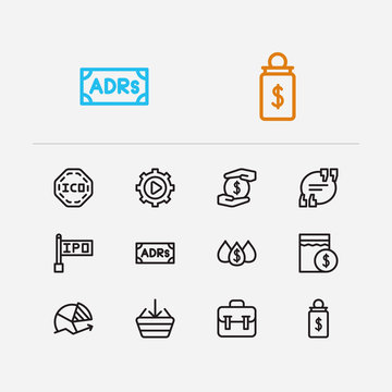 Trading icons set. Quote and trading icons with chart, dividend and liquidity. Set of software for web app logo UI design.