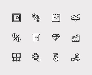 Investment icons set. Stock news and investment icons with winner, stability and exchange. Set of analysis for web app logo UI design.