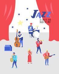 Jazz Concert Poster, Banner. Music Characters, Musical Instruments, Musicians and Singer Artists. Contrabassist, drummer, saxophonist, guitarist. Vector illustration