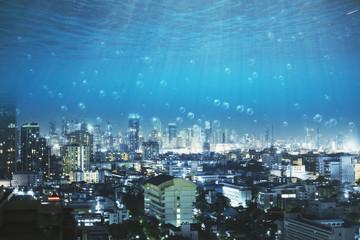 underwater view on city