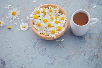 chamomile tea with fresh flowers
