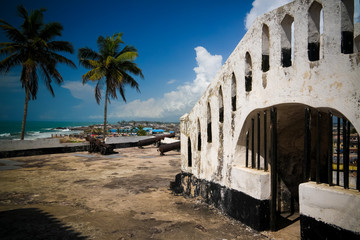 Aerial Interior view to Elmina castle and fortress, Ghana