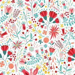 Colorful floral seamless pattern with berries, leaves and flowers on white background. Decorative botanical backdrop. Flat cartoon vector illustration for fabric print, wrapping paper, wallpaper.