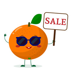 Cute Orange cartoon character in sunglasses keeps a sale sign. Vector illustration, a flat style.