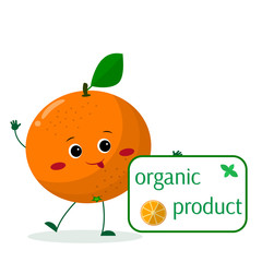 A cute Orange cartoon character holds a plate of organic foods. Vector illustration, a flat style.