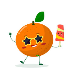 Cute Orange cartoon character in sunglasses star in the hands of a colorful ice cream. Vector illustration, a flat style.