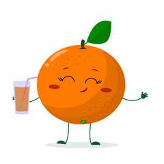 Cute Orangecartoon character holding a glass with juice. Vector illustration, a flat style.