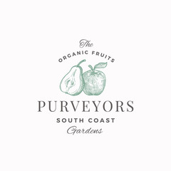 Organic Fruits Purveyors Abstract Vector Sign, Symbol or Logo Template. Half of Pear and Apple with Leaf Sillhouettes Sketch with Elegant Retro Typography. Vintage Luxury Emblem.