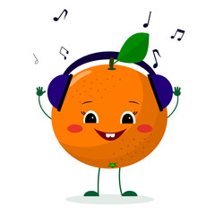 A cute orange character in cartoon style listening to music on headphones. Vector illustration, a flat style.