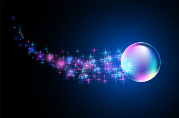 Glowing background with fantastic bubble and  stars