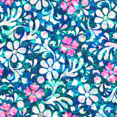Floral  seamless  pattern with flowers on blue background. Vector illustration for fabric, textile, clothes, wallpapers, wrapping.