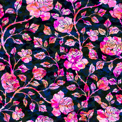 Floral  seamless  pattern with bright roses on dark background. Vector illustration for fabric, textile, clothes, wallpapers, wrapping.