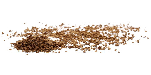 Instant coffee granules isolated on white background and texture