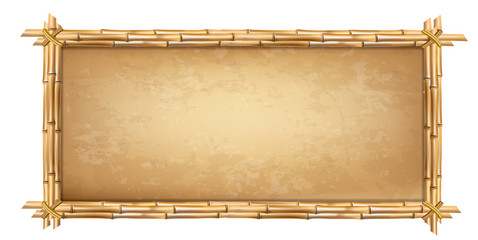 Wooden frame made of brown bamboo sticks with papyrus