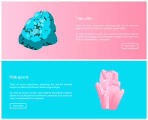 Turquoise and Pink Quartz Minerals Online Posters