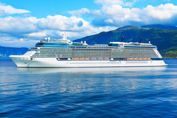 Cruise ship in the fjords of Norway