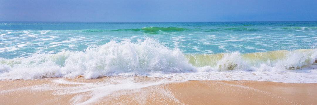 Atlantic ocean, front scenic view of waves on the beach, travel and summer panoramic background, web banner