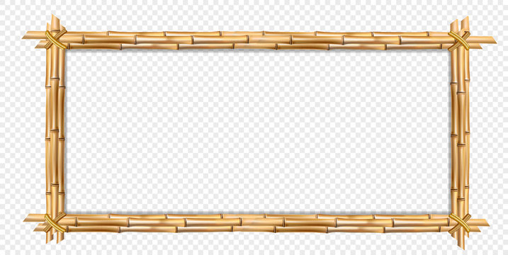 Rectangle brown wooden frame realistic bamboo sticks with copy space