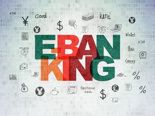 Banking concept: Painted multicolor text E-Banking on Digital Data Paper background with  Hand Drawn Finance Icons