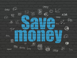 Money concept: Painted blue text Save Money on Black Brick wall background with  Hand Drawn Finance Icons