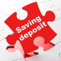 Money concept: Saving Deposit on Red puzzle pieces background, 3D rendering