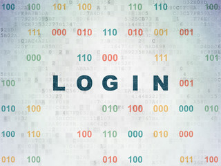 Safety concept: Painted blue text Login on Digital Data Paper background with Binary Code