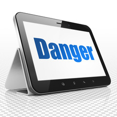 Safety concept: Tablet Computer with blue text Danger on display, 3D rendering