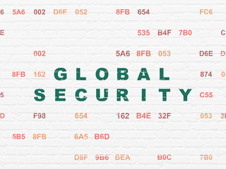Protection concept: Painted green text Global Security on White Brick wall background with Hexadecimal Code