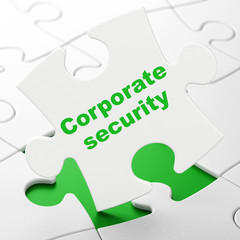 Privacy concept: Corporate Security on White puzzle pieces background, 3D rendering