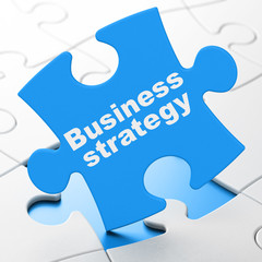 Business concept: Business Strategy on Blue puzzle pieces background, 3D rendering