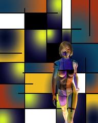 3D woman's model in art space