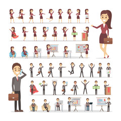 Set of businessman and business woman characters