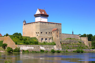 Narva Castle on the Bank of the River on a Sunny Summer Day