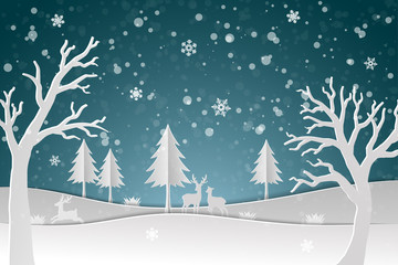 Deer family with winter snow in the night,Happy new year and Merry Christmas on paper art design abstract background