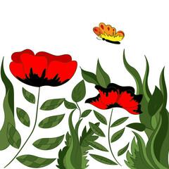 A bright magical poppy field. Fabulous wallpaper