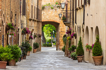 Fototapeta Beautiful street in a small old village Pienza, Tuscany.