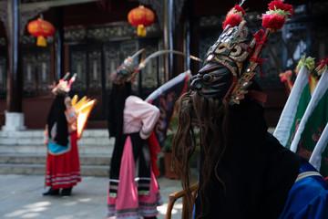 GUINZHOU, CHINA - JUNE 14, 2018: Miao women performing traditional dance