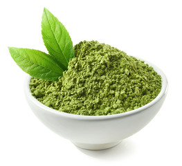 Bowl of green matcha tea powder