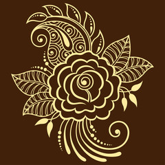 Mehndi rosa flower pattern for Henna drawing and tattoo. Decoration in ethnic oriental, Indian style.