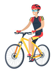 Riding Man with Smile and Bike Vector Illustration
