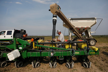 Bruce Edler, 56, a farmer for 40 years, fills seed planters with soybean seed in Gideon Missour