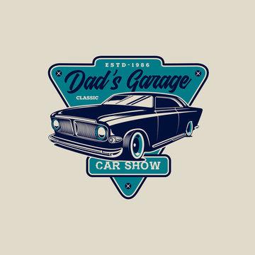 Classic Car Garage Illustration