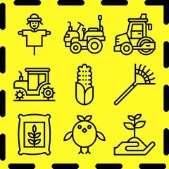 Simple 9 icon set of farm related [iconsRandom:4] vector icons. Collection Illustration