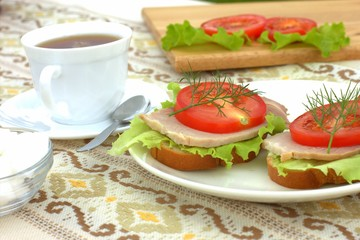 Countryside Sandwiches with Tomatoes Ham and Tea Outdoors