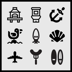 Simple 9 set of Summer related airplane upward, two surfing boards, cartoon squid and anchor vector icons